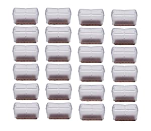"Antrader 24pcs Silicon Rectangle Furniture Pads Floor Protector Sofa Non-Slip Chair Feet Pad Table Leg Cap with Felt Pads Length 1-7/16"" to 1-5/8"" (3.7cm-4.2cm), Width 5/8"" to 7/8"" (1.6-2.2cm) Clear"