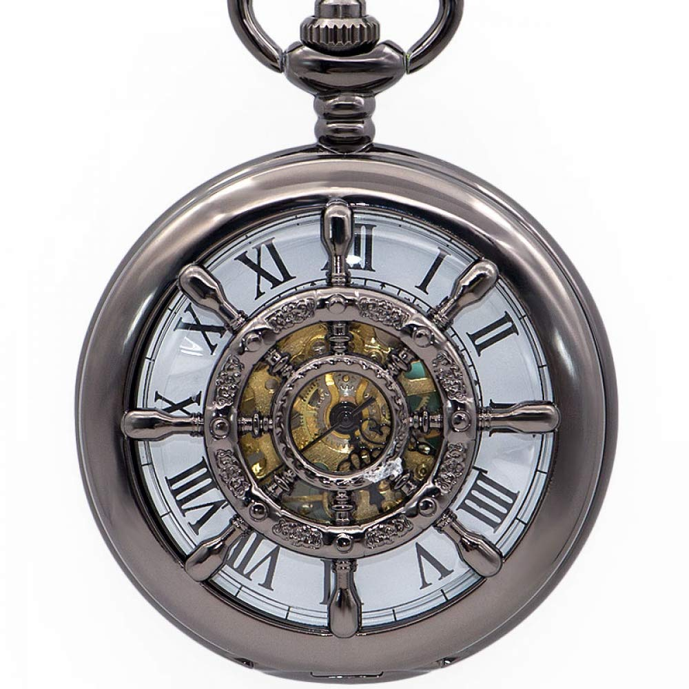 DYH&PW Retro Steampunk Hollow Carving Mechanical Pocket Watches Fob Chain Watches with Gift,A