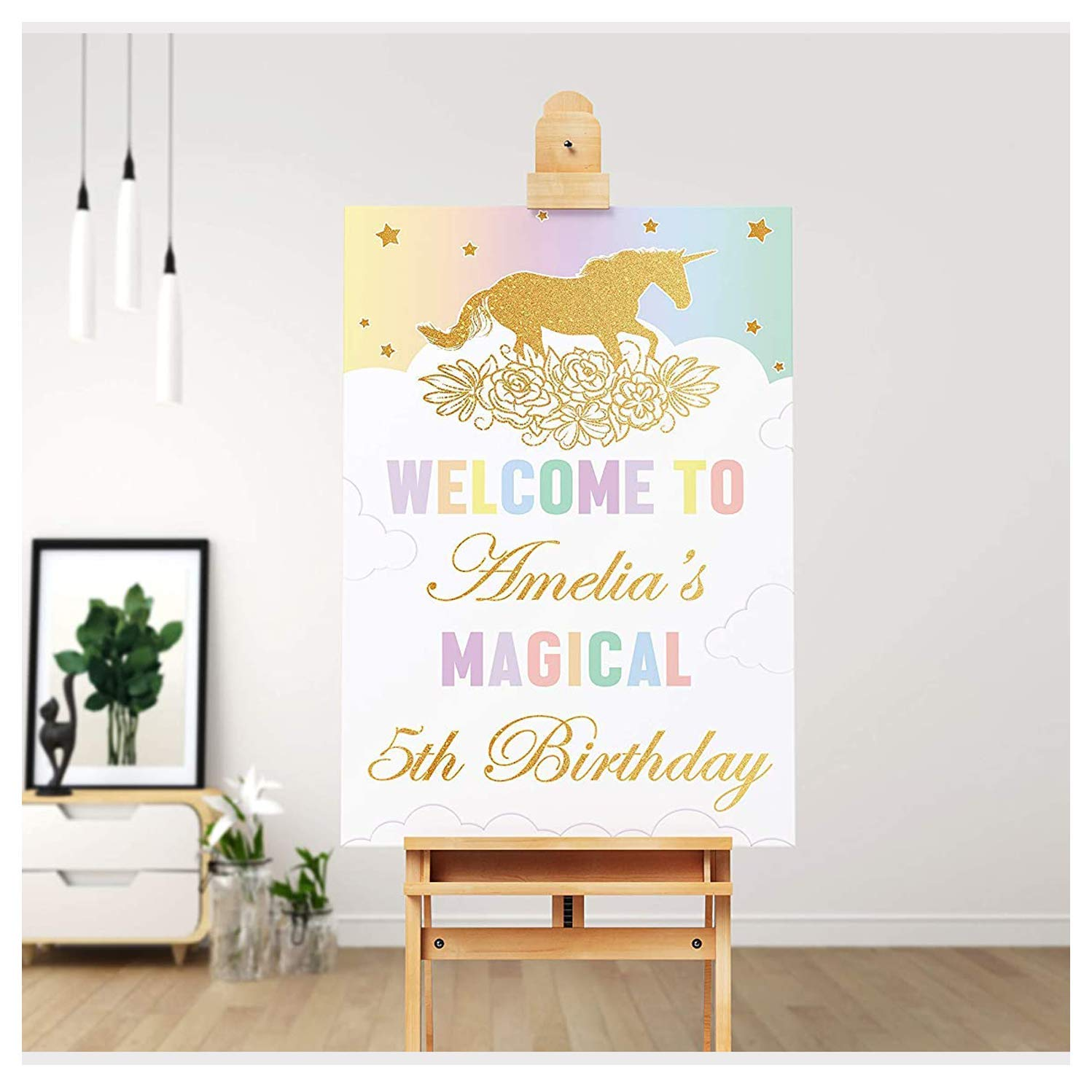 SPEEDYORDERS - Gold Magical Unicorn Birthday Welcome Sign, Any Age Magical Birthday Banner Custom Names Poster Handmade Party Supply Poster Print, Size 24x18, 36x24 and 48x36