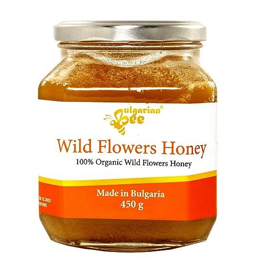 450 g Miel de flores silvestres y hierbas orgánicas, Certificado sin antibióticos, sin azúcar, sin calentar, sin pasteurizar, crudo, miel real ...