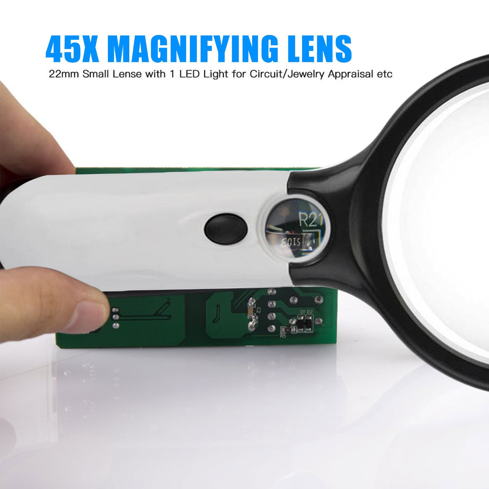 Magnifying Glass with Light,BreaDeep 3X 45X Handheld Magnifier with 3 LED Lights Jewelry Loupe for Science,Reading,Electronics,Hobbies and Crafts