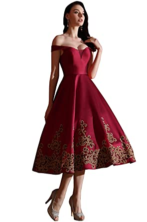 21c8d2a57c7e eDressit Designer Burgundy Off Shoulder Short Prom Dress (04170917) at  Amazon Women's Clothing store: