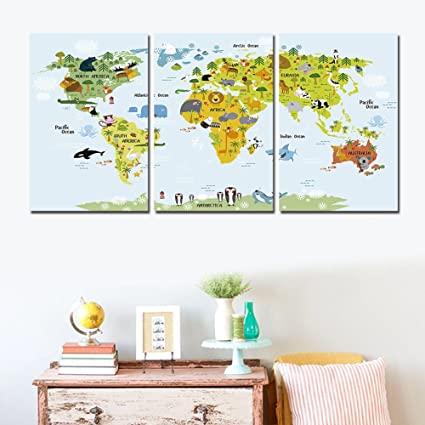 Amazon shuaxin modern cute world map find animal in the world shuaxin modern cute world map find animal in the world map print on canvas home children gumiabroncs Choice Image