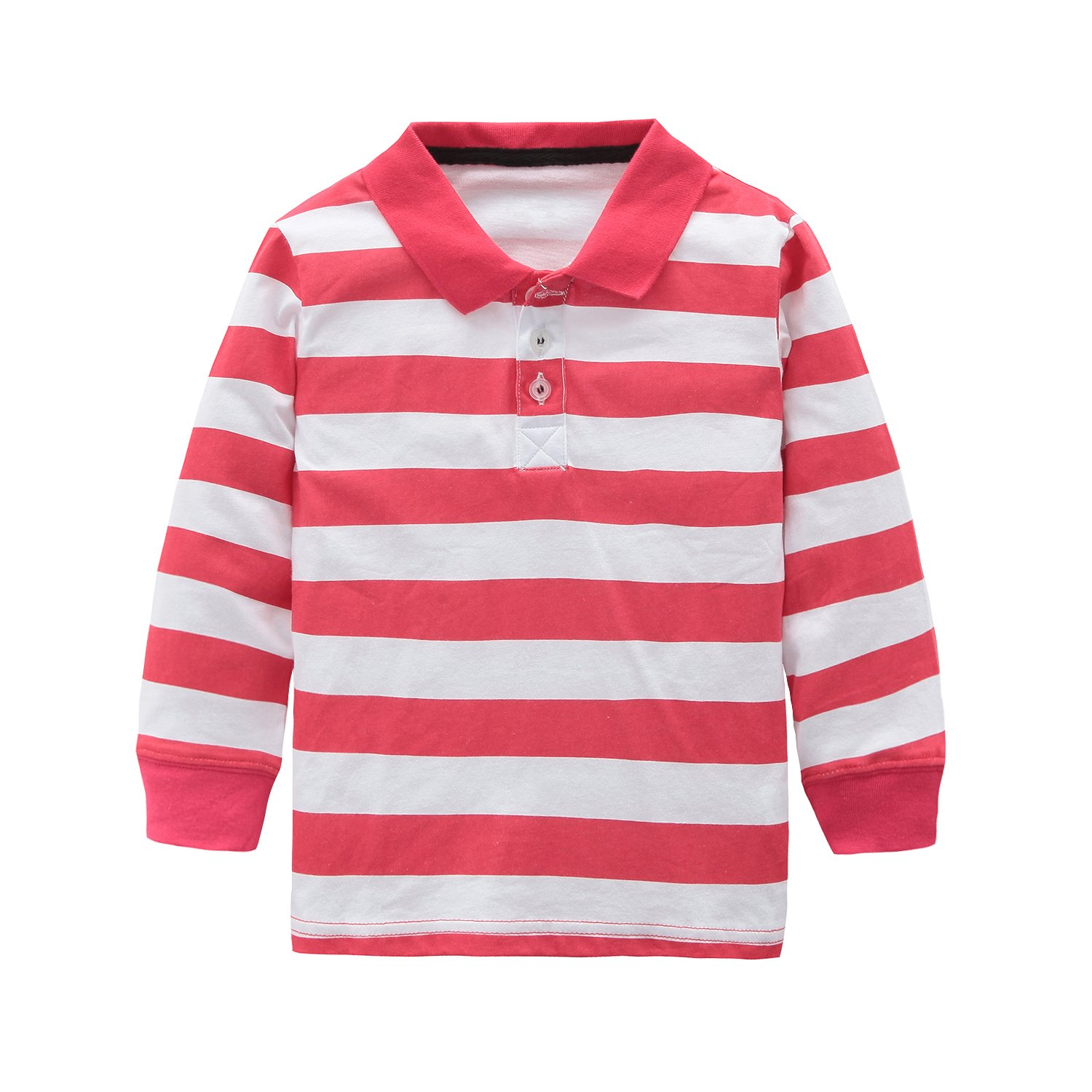 HowJoJo Toddler Boys Cotton Long Sleeve T-Shirts Striped Polo Shirts Red 3T