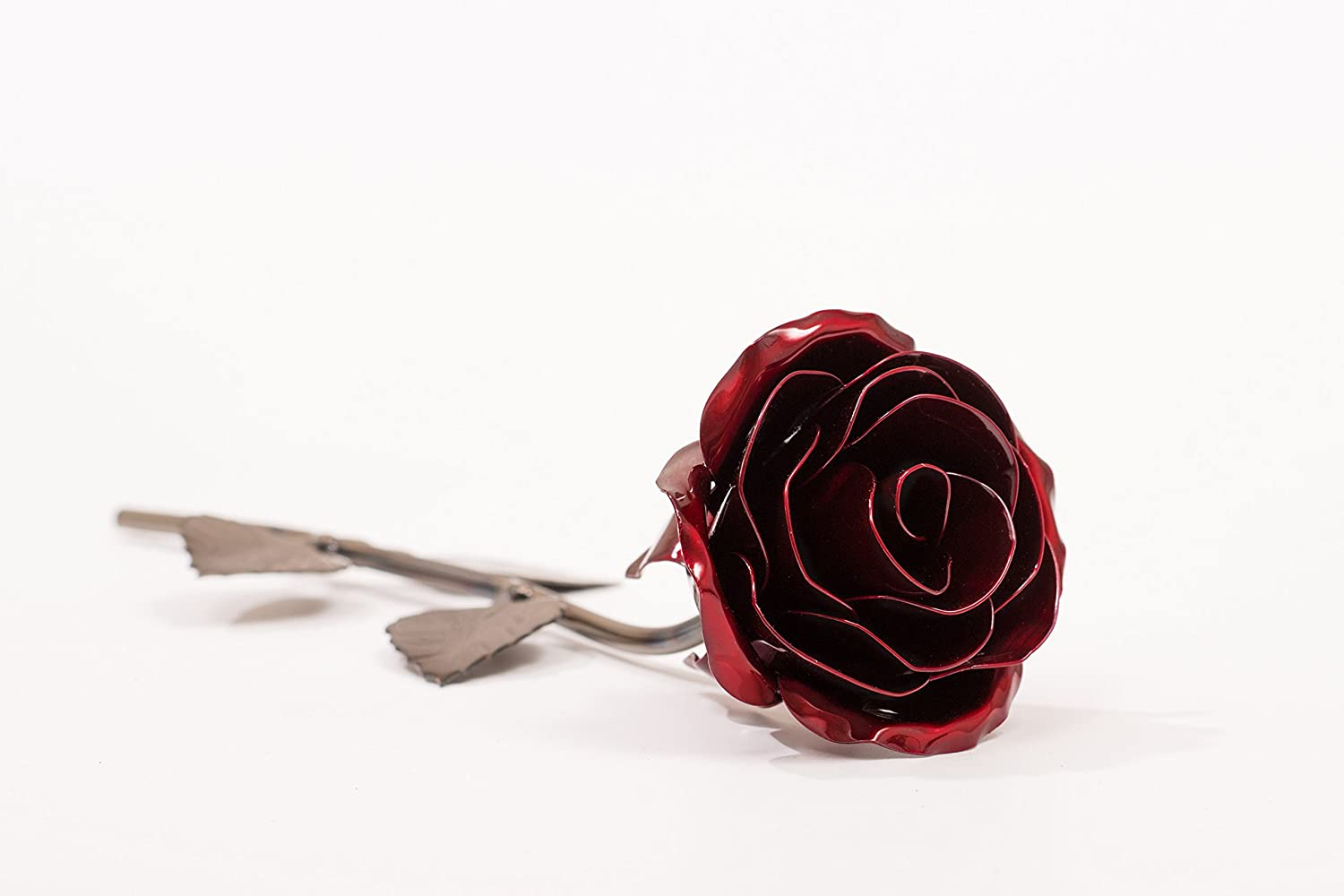 Personalized Hand Forged Wrought Iron Red Metal Rose