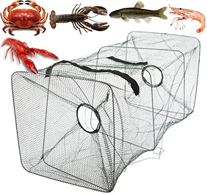 Lot Fishing Bait Trap Crab Net Crawdad Shrimp Cast Dip Cage Fish Minow Foldable