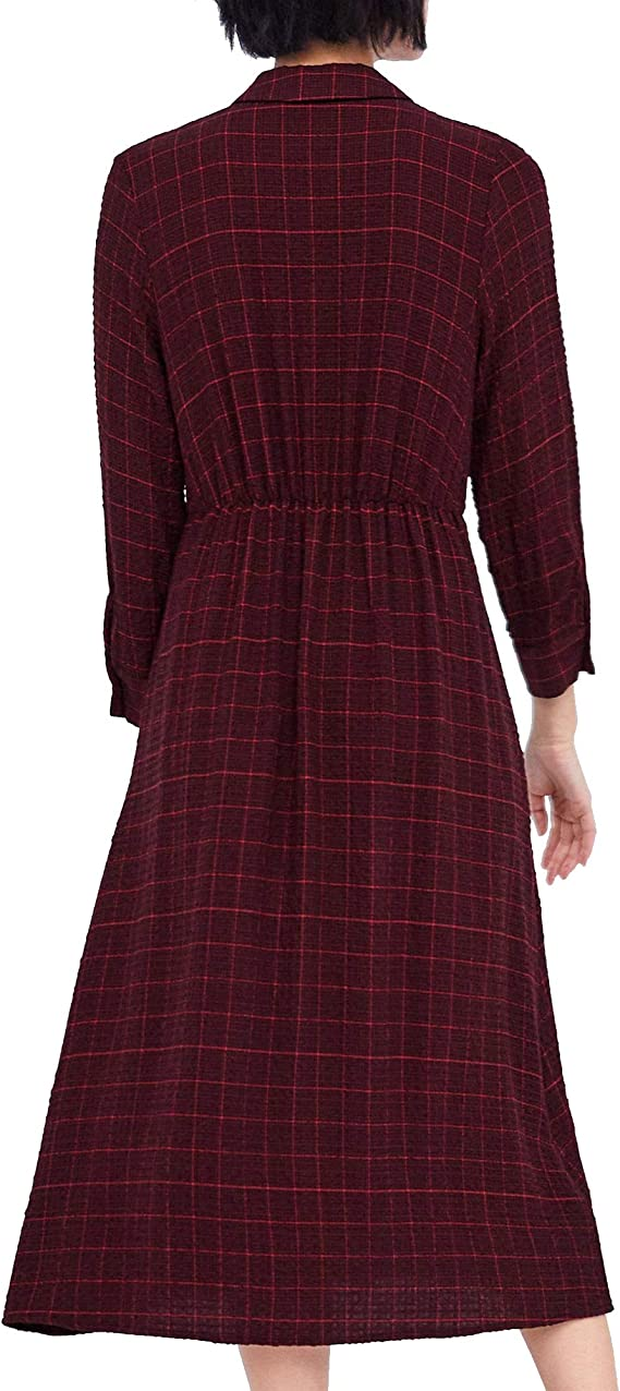 Zara 3564/072 Vestido de Camisa a Cuadros para Mujer - Rojo ...