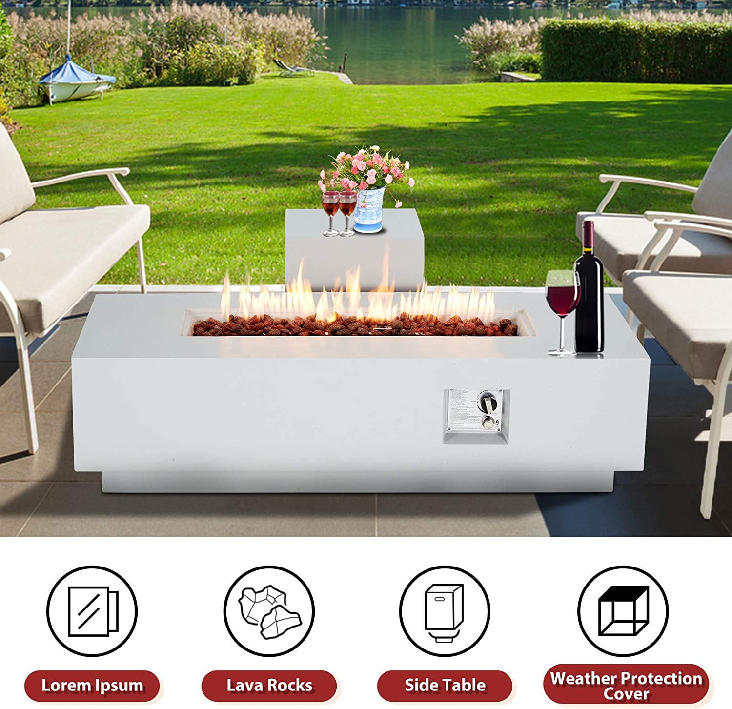 ECOTOUGE 2-Piece 56Inch Outdoor Propane Fire Pit Table Set with 20 Gallon Gas Tank Side Table w// Weather Rust-Resistant Cover 50,000 BTU Rectangular Concrete-Style Fire Table Outdoor Furniture