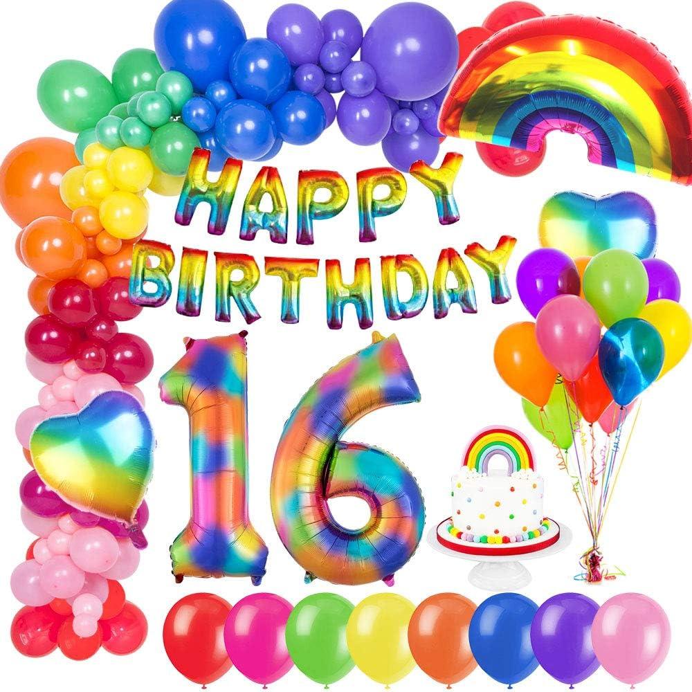 MMTX Globo de Cumpleaños 16 Años con Happy Birthday Globo Bandera, Número 16 Frustrar Globo, Arco Iris Corazón Globo para Revelación de género Niñas niño Mujeres: Amazon.es: Hogar