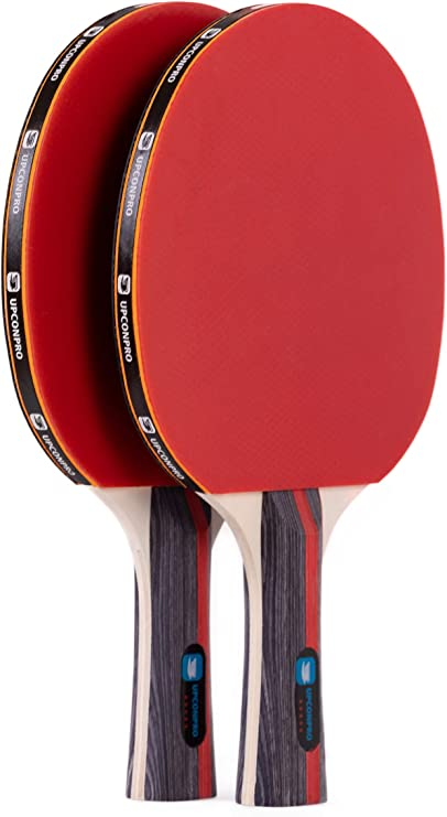 UPCONPRO Professional Ping Pong Paddle Set - 2 Pack Premium Table Tennis Racket Set, 3 Professional Game Balls, Training Recreational Racquet Kit, ...