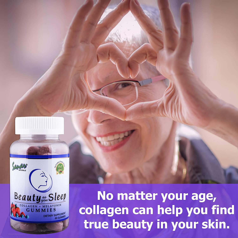 Sanar Naturals Collagen Gummy Beauty Sleep Aid (60 Count) - Melatonin and Hydrolyzed...