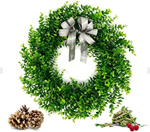 KAGDIDA Door Wreath, Boxwood Wreath 22 inch Boxwood Leaf Wreaths with Knotted Bow Green Garland for Indoor Wall Window Party Decor for Halloween and Thanksgiving Home Indoor Decor (Fake Vines)