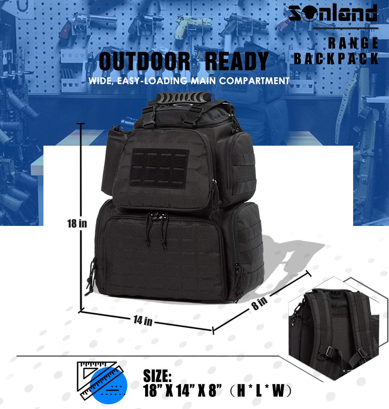 SUNLAND Range Bag Backpack,Gun Backpack with 3-Pistol Case and Protective Rain Cover,Tactical molle System & Lockable zippers-18'' x 14'' x 8'' (Blk) by SUNLAND (Image #8)