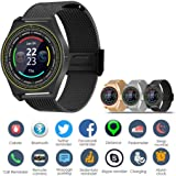 Loveje Unisex Bluetooth Smart Watch Fitness Tracker Touchscreen with Camera Waterproof Dustproof Pedometer Sleep Monitor Reminder Music Player Phone Compatible Android iOS (Black)