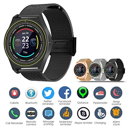 Loveje Smartwatch Touchscreen with Camera Waterproof Dustproof Round Business Sport, Bluetooth Watch Phone with SIM Card Slot Compatible Android iOS ...