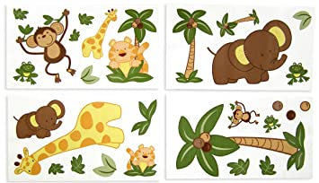Amazoncom NoJo Jungle Babies Wall Decals Nursery Wall - Wall decals jungle