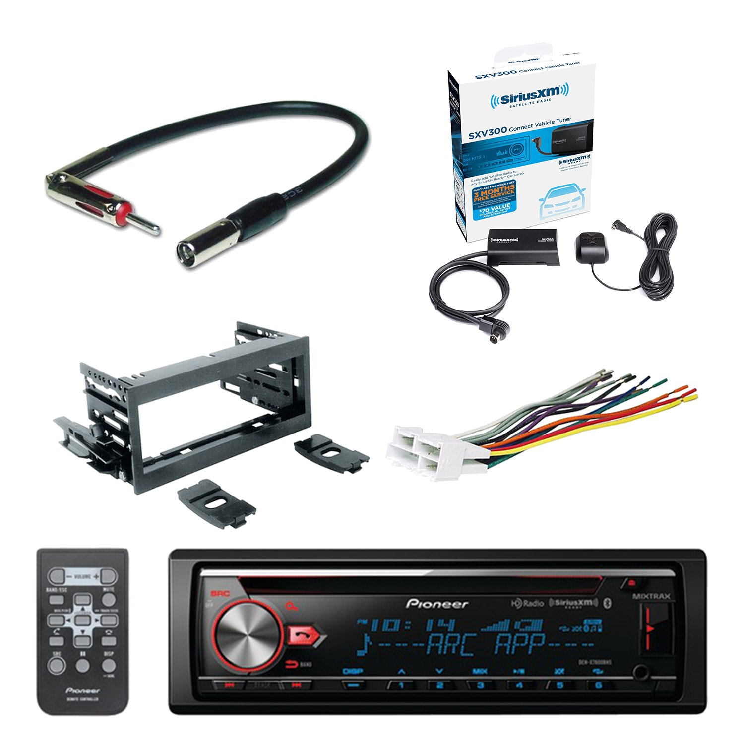 Pioneer CD Bluetooth Receiver with Enhanced Audio Functions with SiriusXM Satellite Radio Vehicle Tuner Kit, Scosche Dash Kit, Scosche GM Micro/Delco Antenna Adapter & Scosche Radio Wiring Harness
