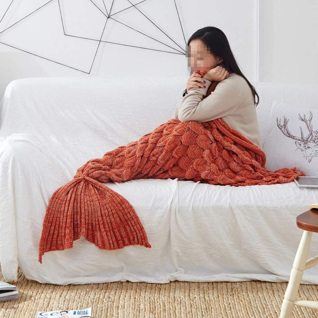 Enfant//Adulte Queue De Sirène couverture fait main tricot canapé Crocheted Couette buttontype