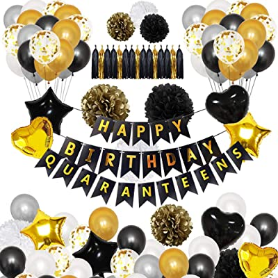 JUZIPI Happy Birthday Quaranteens Party 100pcs Decor Banner Tassel Balloons Flower Pompoms Decoration for Theme Party Outdoors and Indoors Supplies: Toys & Games