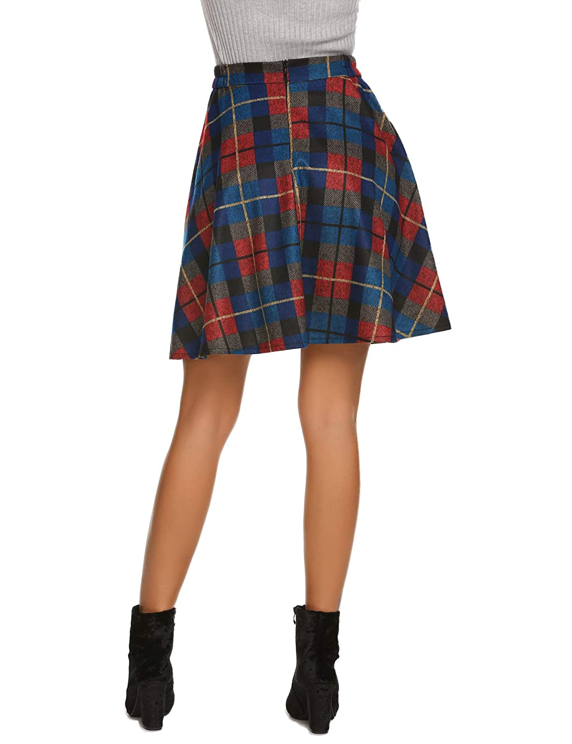 b5a7a4320c Hotouch Women's Plaid Flared Skirt A-Line High Elastic Tartan Pleated Winter  Warm Wool Skirts Short at Amazon Women's Clothing store: