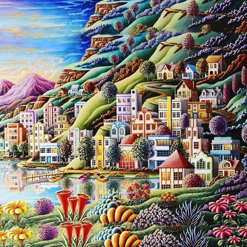 Tempusort 5D Diamond Painting Country Cottage Full Drill by Number Kits Village Landscape Paint with Diamonds Art Country Scenes Crystal Rhinestone Craft Decor 30x40cm