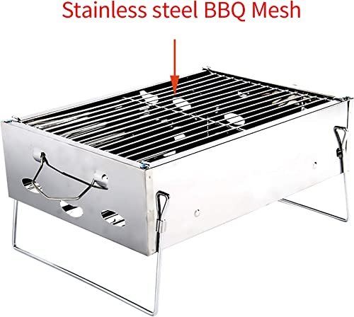 Higarden Charcoal Grill Barbecue Portable BBQ 2-4 People Stainless Steel Folding BBQ Grill Camping Grill Tabletop Grill Portable Camping Cooking Small Grill S