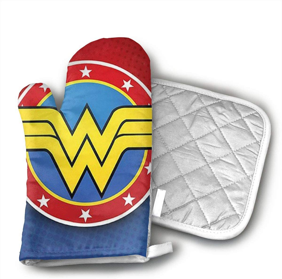 HGUIDHG Wonder Woman Oven Mitts+Insulated Square Mat,Heat Resistant Kitchen Gloves Soft Insulated Deep Pockets, Non-Slip Handles