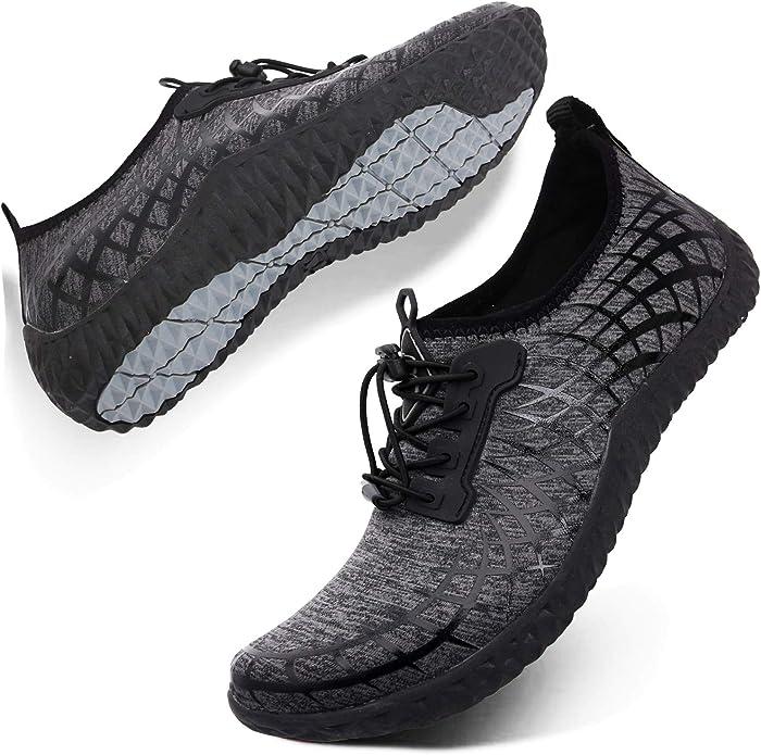 L-RUN Mens Womens Water Sport Shoes Outdoor Quick Dry Barefoot Aqua Athletic Shoe for Beach Swim Surf Diving Yoga Plaid Black 7.5M US