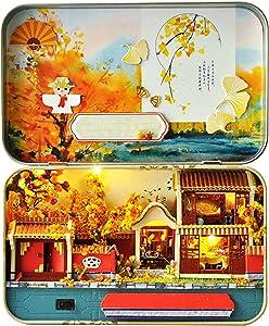 EIRMEON DIY Miniature Dollhouse Kit,3D Wooden Dollhouse Miniature DIY Doll House Kit with Furniture,1:24 DIY Box Theater Kit,4 Seasons Landscape Vintage Architectural Mini Dollhouse for Kids (Autumn)