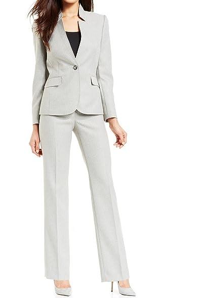 Amazon Com Tahari Women S Notched Single Button Herringbone Pant