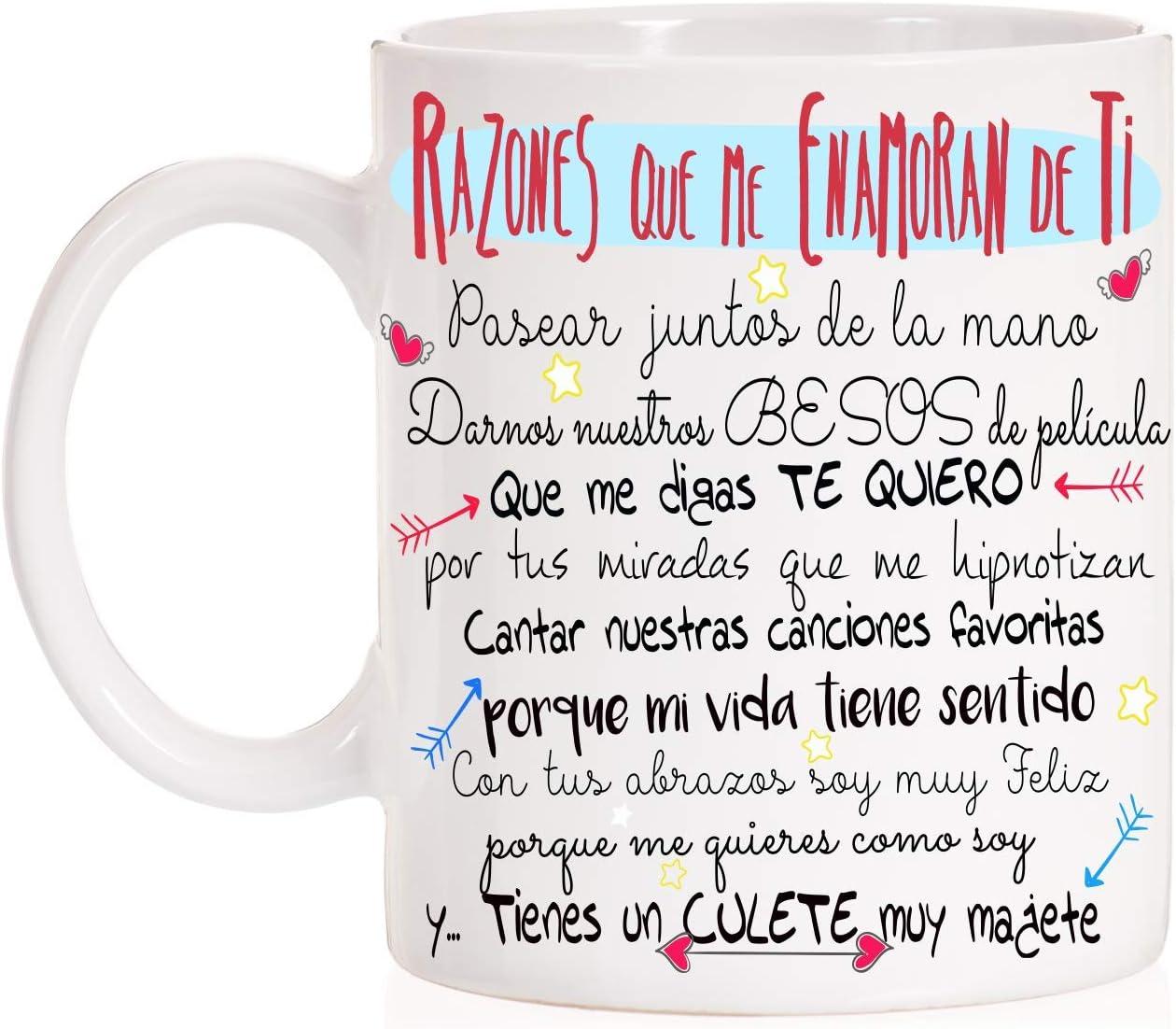 FUNNY CUP Taza Razones Que me Enamoran de Ti. Regalo Divertido con Mucho Amor para Parejas. San valentín. Día de los Enamorados.