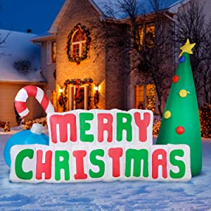 Holidayana Merry Christmas Sign Inflatable - 8 ft Long Merry Christmas Inflatable Outdoor Yard Decoration with LED Lights, Built-in Fan, and Anchor Ropes