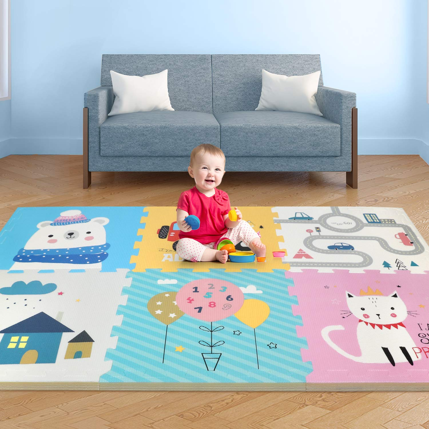 Play Mat, Foldable Baby Crawling Mat Non-Toxic Kids Puzzle Exercise Playmat Large Waterproof Foam Floor Play Mat with Soft Interlocking Floor Tiles Reversible Playmat for Toddler Infant - 67x45x0.79IN