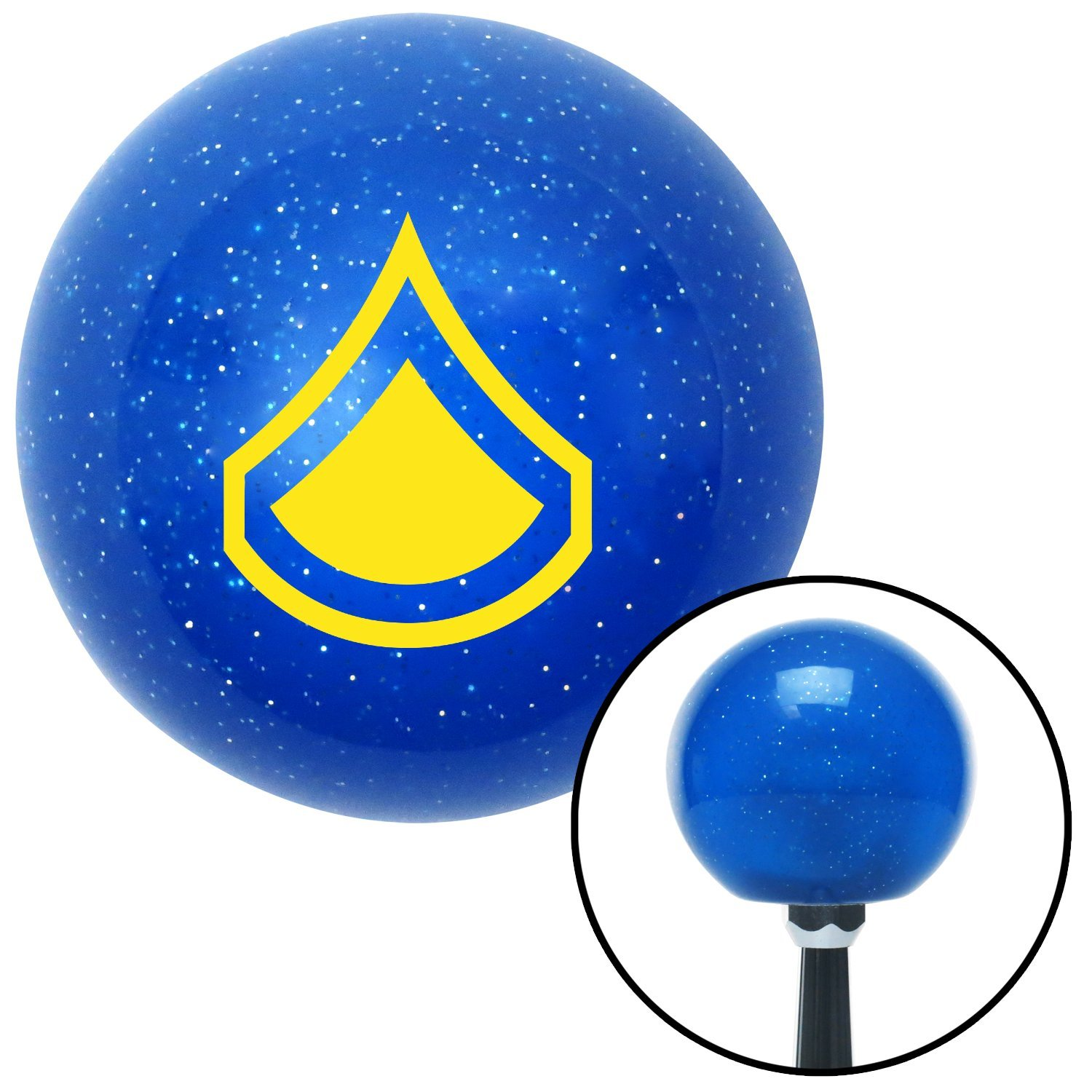 Yellow Private First Class American Shifter 26070 Blue Metal Flake Shift Knob