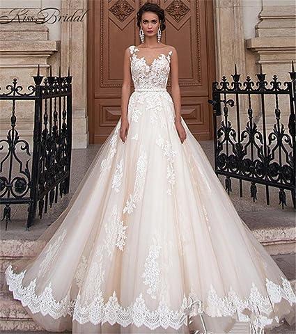 apariencia elegante nueva precios más bajos los recién llegados HAPPYMOOD Vestido de novia Elegante para mujer Una línea de gasa Nupcial  Vestidos de novia Noche Vestido de novia