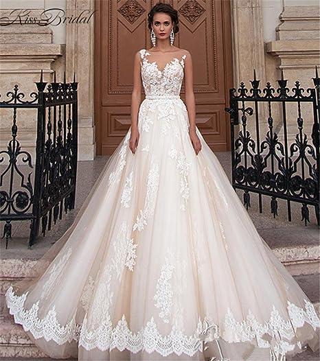 d1ea4b9a623c HAPPYMOOD Vestito da Sposa Elegante Donna Una Linea in Chiffon Nuziale  Abiti da Sposa Sera Abito