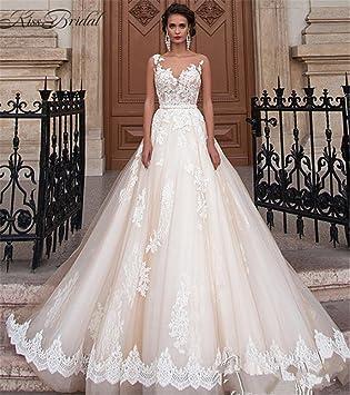 LUCKY-U Vestido de novia Elegante para mujer Una línea de gasa Nupcial Vestidos de