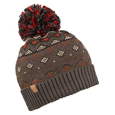 Cooper Fair Isle Knitted Pattern Wool Blend Bobble Hat (Brown or Blue)  (Brown 6b1eccdc37c