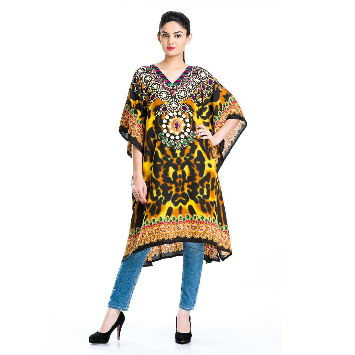 Goood Times Plus Size Boho-Chic Caftan Loose Beach Cover-up Dress Kaftan Maxi