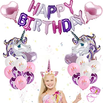 Unicorn Balloon Birthday Party Decoration – Unicorn Balloon Girl Set, Purple Unicorn Balloons, Rainbow Happy Birthday & Heart-Shaped Balloons, Glitter Unicorn Headband for Baby Shower, Girl Unicorn Party Supply