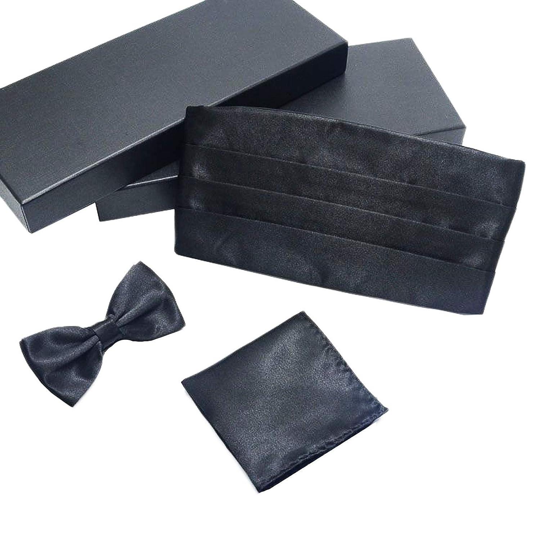 Formal Solid Pre-tied Bow Tie /& Pocket Square /& Cummerbund Set
