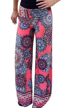 Moollyfox Femmes Multicolor Pantalons Taille Haute Jambes Larges Fluide Imprimé Jogging Sarouel Pantalon Femme L Comme