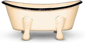FINCHBERRY Clawfoot Bathtub Soap Dish Holder, Farmhouse Vintage Bathroom Décor, Bar Soap Tray for Bath or Kitchen, Distressed Enamel (Mustard)