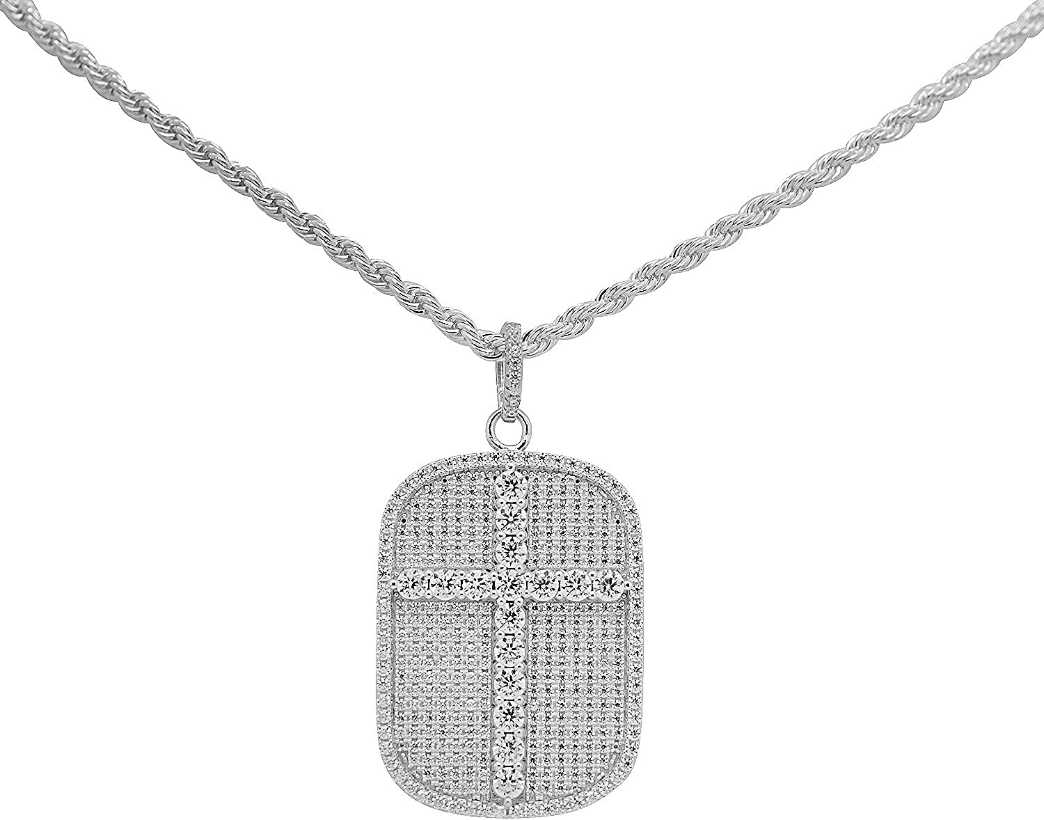 925 Sterling Silver White Gold-Tone Iced Style Hip Hop Bling Cubic Zirconia Holy Cross Dog Tag Pendant