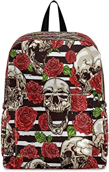 Red Dragon Skull Bone Skeleton Multi-Functional College Bags Students High School Girls Casual Daypack Kids Travel Backpack School Laptop Bookbags Teens Boy Outdoor Accessories