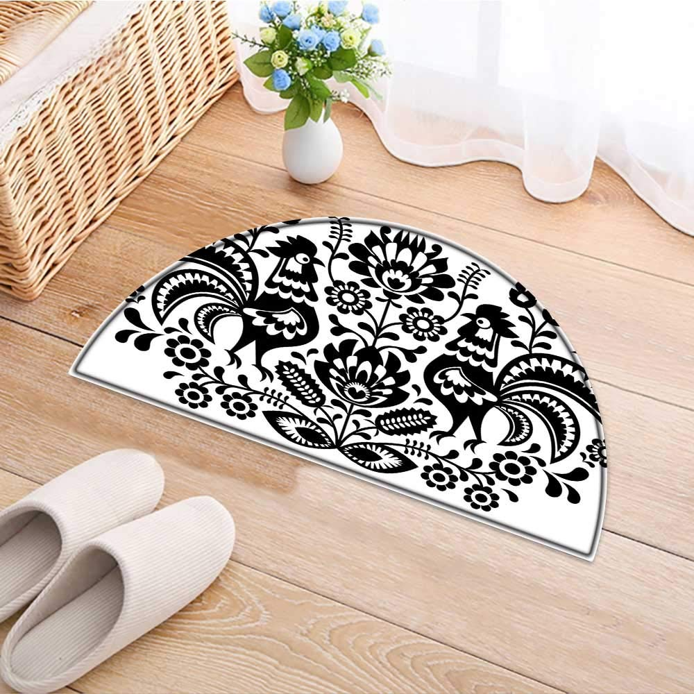 Kitchen Rugs Floor mats Polish Floral Embroidery with Roosters Traditional Folk Pattern Cut Out Easter Waterproof Semi-Circular Door Mat Floor Mats W37 x H26 INCH