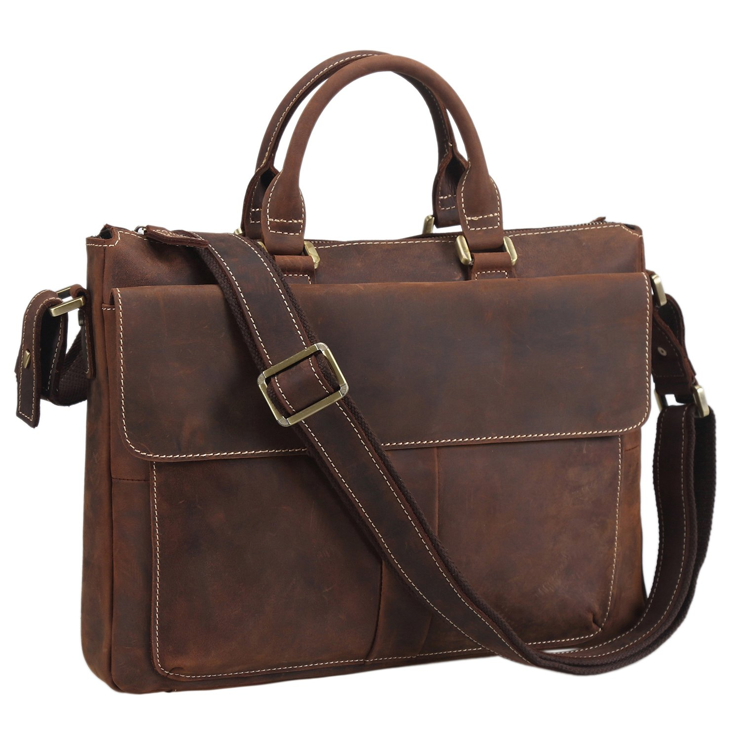 Texbo Vintage Simple Cow Leather Durable Laptop Tote Briefcase, 14'' Laptop Bag