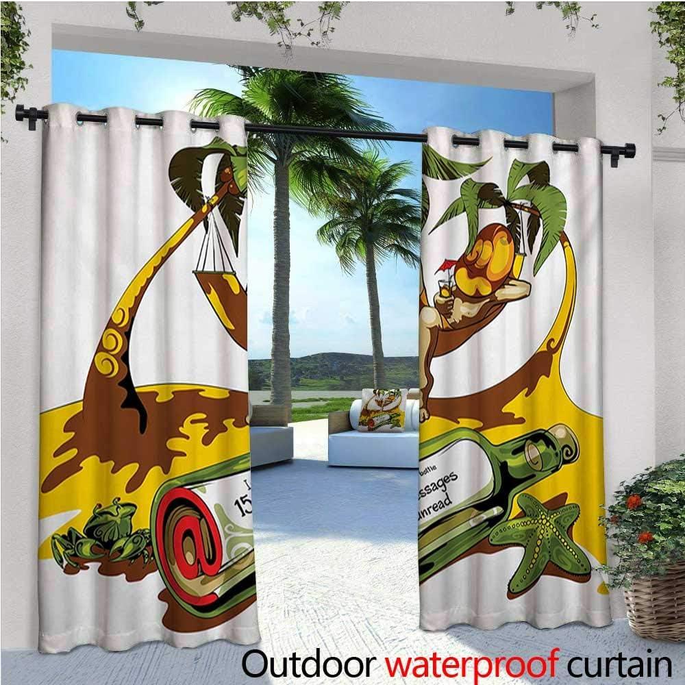 Homehot - Cortina de privacidad de playa para pérgola abstracta de palma, árbol de palma, soleado, marinero, relajante, ilustración estacional con aislamiento térmico, repelente al agua, para balcón, azul pálido y marigol.: