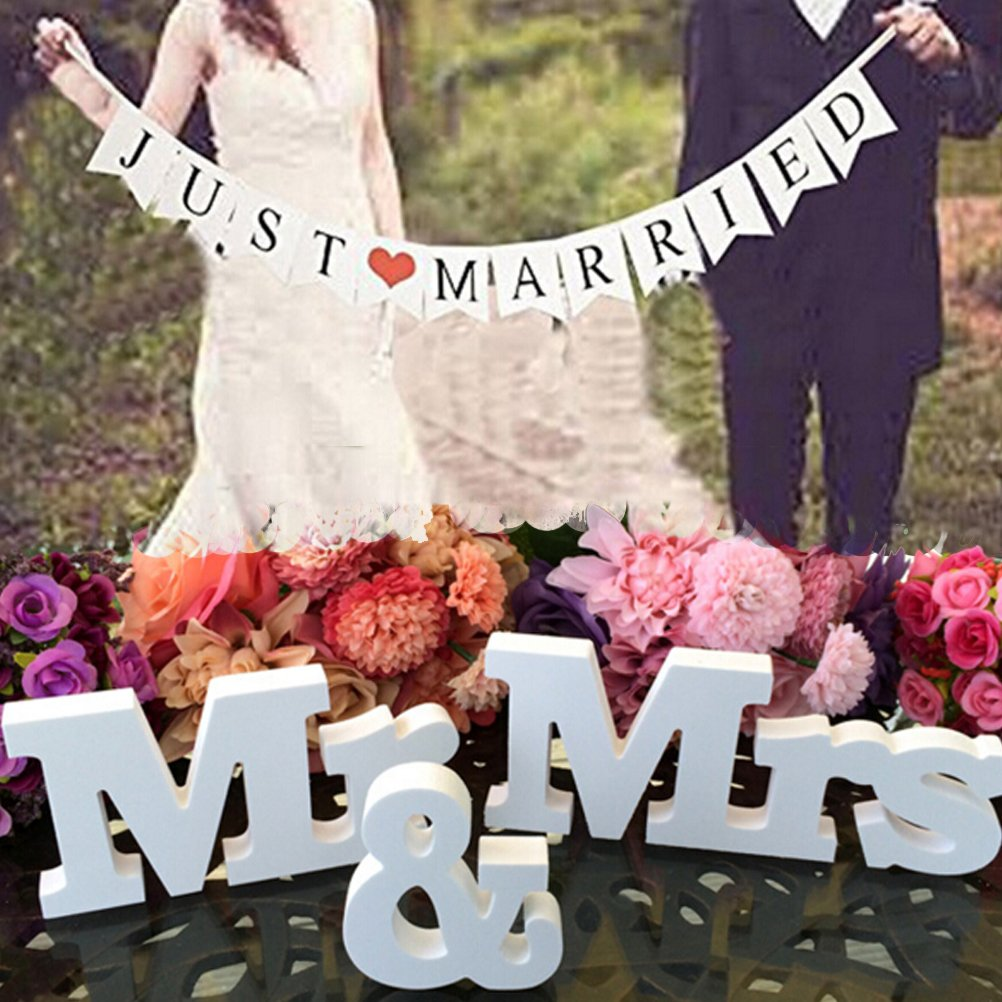 Wedding reception accessories amazon bestim incuk wedding decorations set with just married wedding banner mr mrs signs letters for junglespirit Image collections