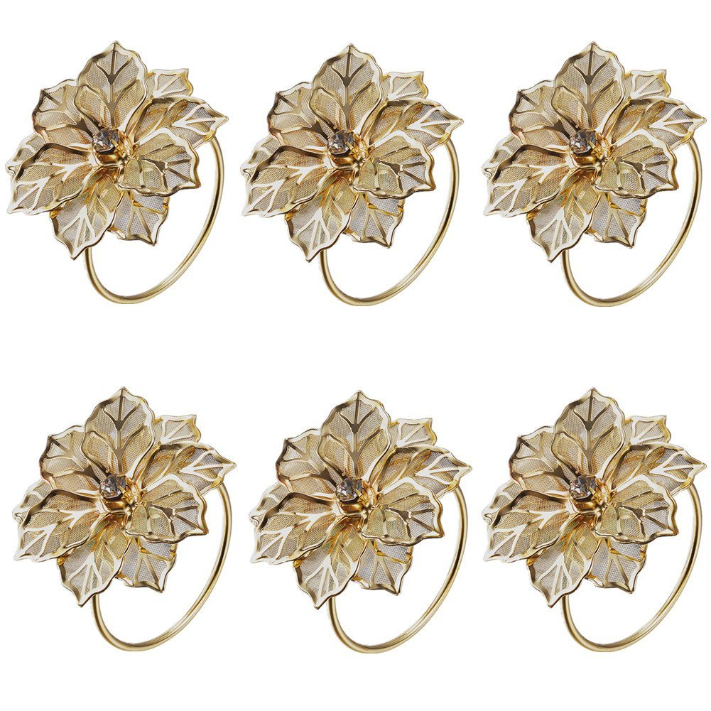 Derker Alloy Napkin Rings with Delicately Hollow out Flower Wedding Banquet Dinner Decor Favor,Pack of 6(Gold)